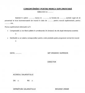 Acordul angajatului pentru ore suplimentare