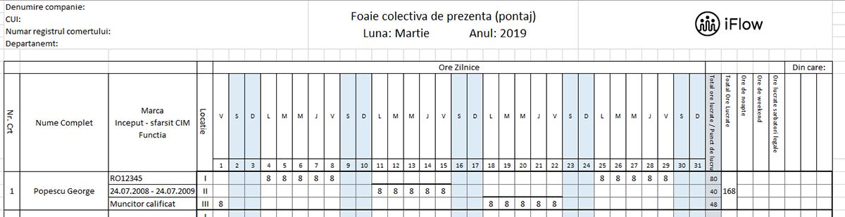 model pontaj construcții pe locații martie 2019