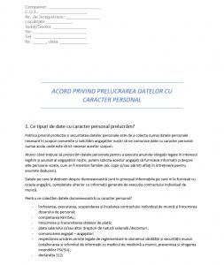 Model de acord al angajatilor privind prelucrarea datelor cu caracter personal