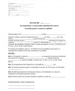 Model Decizie de Suspendare CIM pentru CCC