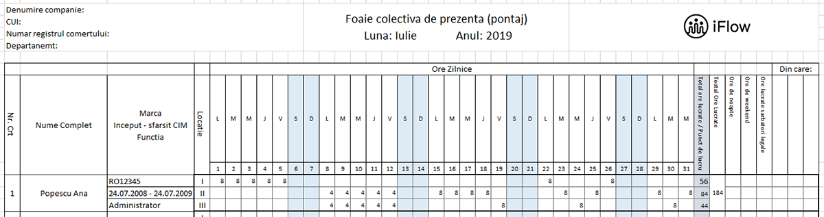 Model pontaj pe locatii Iulie 2019