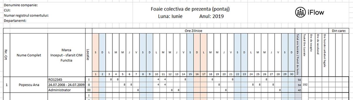 model pontaj pe locatii Iunie 2019