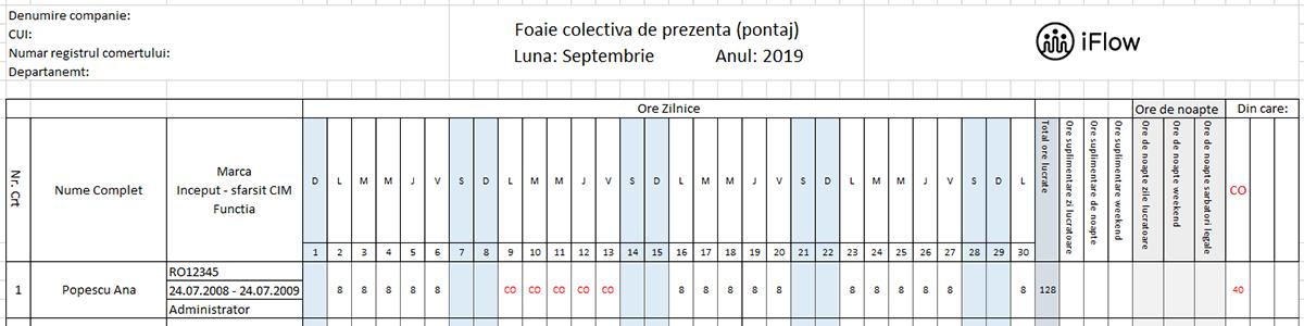 Pontaj cu marca septembrie 2019