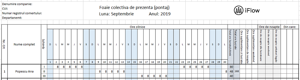 Pontaj pe schimburi septembrie 2019