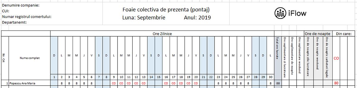 Pontaj septembrie 2019