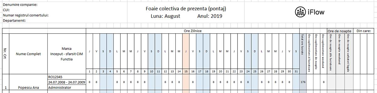 Pontaj cu numar de marca August 2019