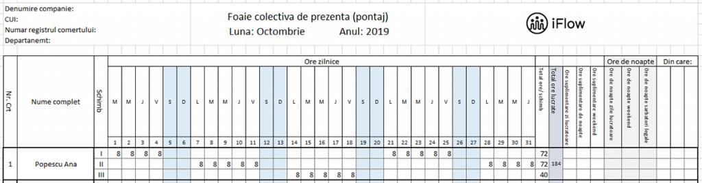 Pontaj pe schimburi Octombrie 2019
