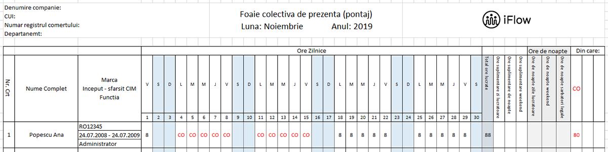 Pontaj cu numar de marca Noiembrie 2019