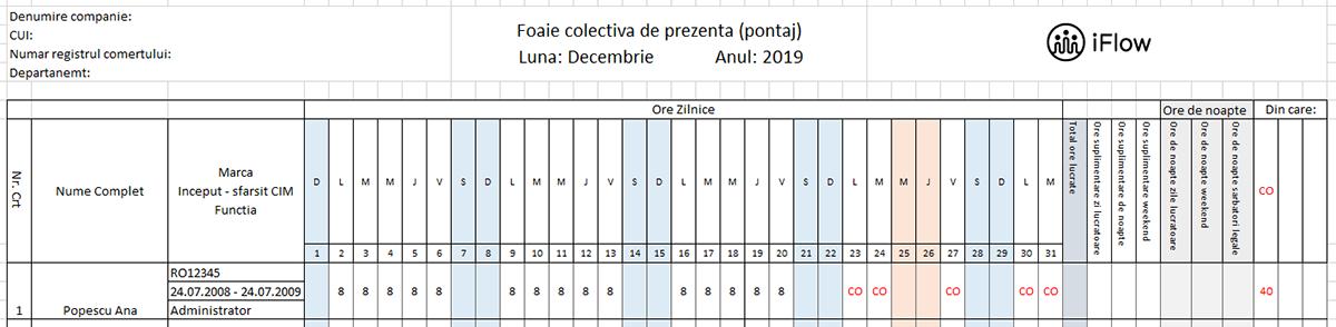 Pontaj cu numar de marca Decembrie 2019