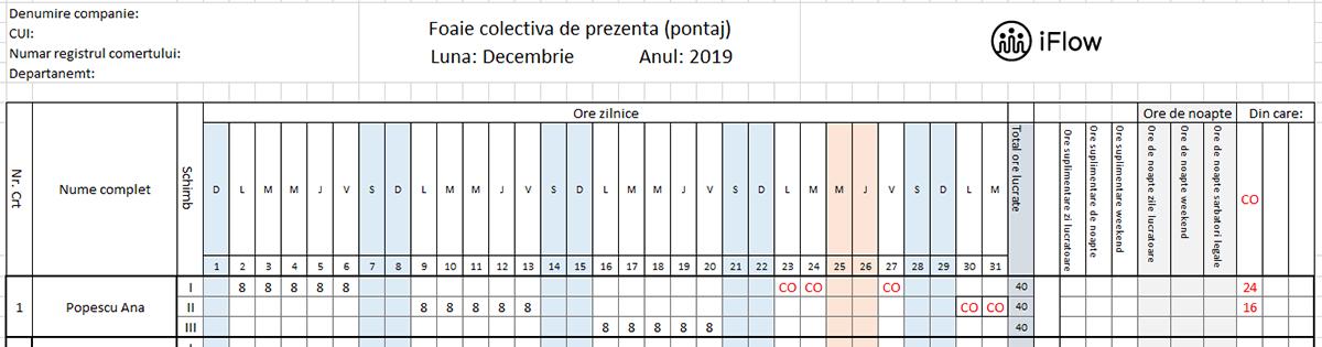 Pontaj pe schimburi Decembrie 2019