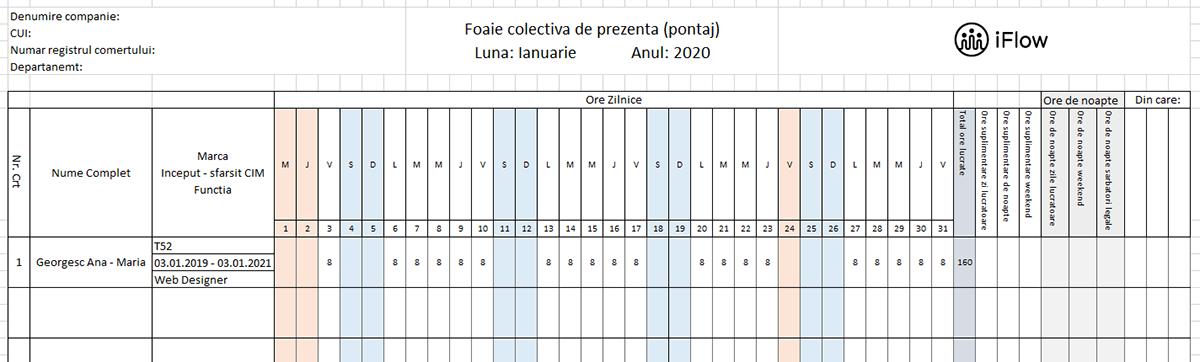 Model pontaj cu numar de marca Ianuarie 2020