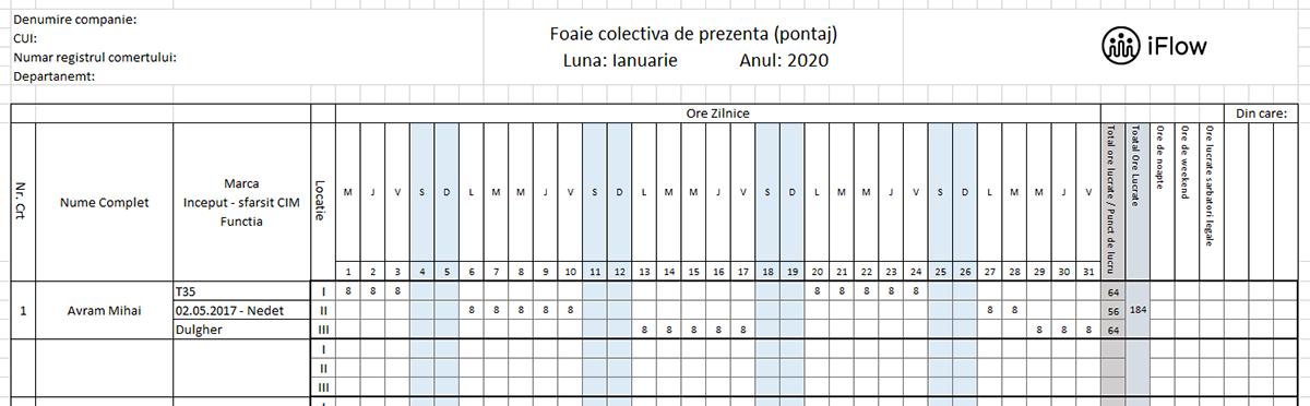 Model pontaj pe locatii Ianuarie 2020