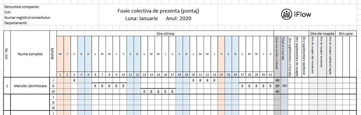 Model pontaj pe schimburi Ianuarie 2020