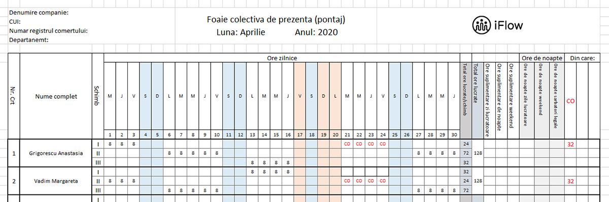 Pontaj pe schimburi Aprilie 2020