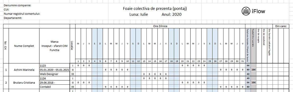 Model Pontaj pe locatii Iulie 2020