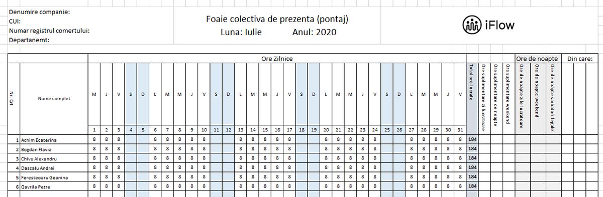 Model Pontaj simplu Iulie 2020