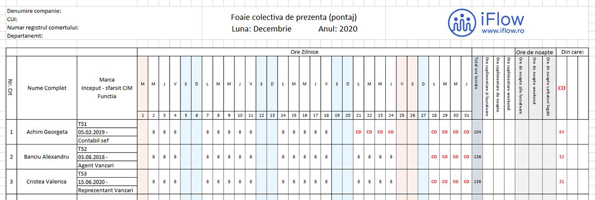 Model Pontaj cu nr de Marca Decembrie 2020