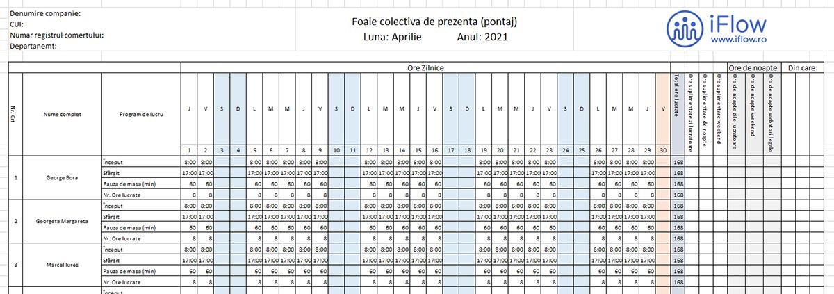 Model Pontaj cu evidenta numarului d eore lucrate Aprilie 2021